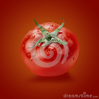 Free Tomato With Water Drops On The Red Background Royalty Free Stock Photos - 71475168