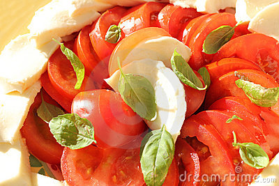 Tomatoes basil and mozzarella