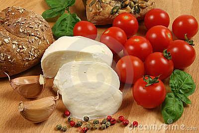 Tomatoes, cheese, bread