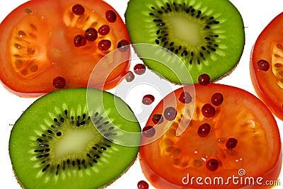 Tomatoes and kiwi