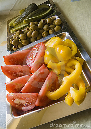 Tomatoes and olives plate