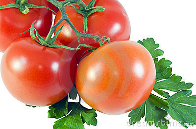 Tomatoes and parsley leaves
