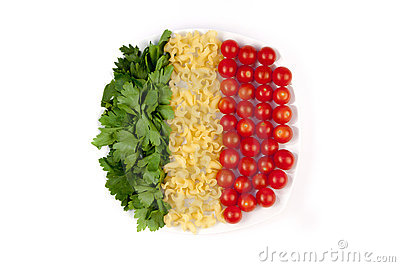 Tomatoes, pasta and herb