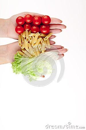 Tomatoes, pasta and herb like symbol Italian flag