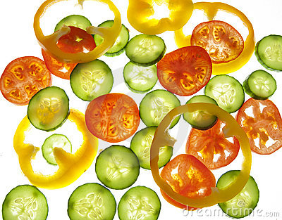 Tomatoes, pepper and cucumber