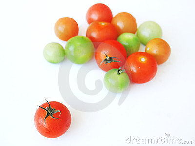 Tomatoes in red, green orange