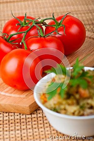 Tomatoes and rice porridge
