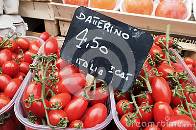 Tomatoes for sale on market stall