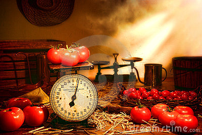 Tomatoes and Scale on Old Country Farm Stand Table