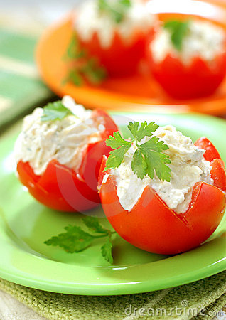 Free Tomatoes Stuffed With Feta Stock Photo - 4615600