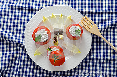 Tomatoes Stuffed and Wooden Fork