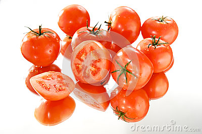 Tomatoes on white background, mirror