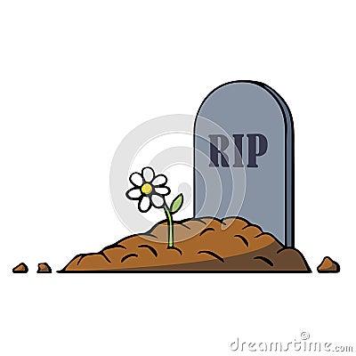 Tombe de bande dessin e avec la pierre tombale et la fleur illustration de vecteur illustration - Pierre tombale dessin ...