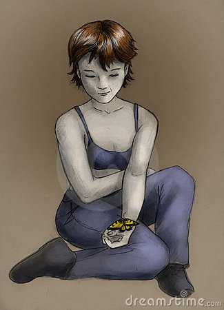 Tomboy girl with butterfly - color