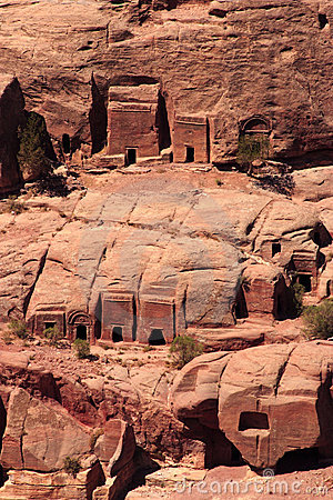 Tombs in the hillside at Petra