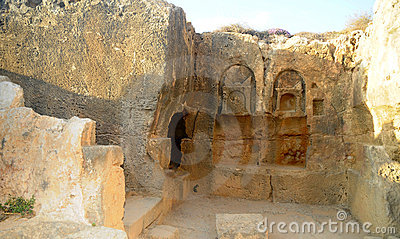 Tombs of the kings - Decoratively carved doorway. Editorial Stock Photo