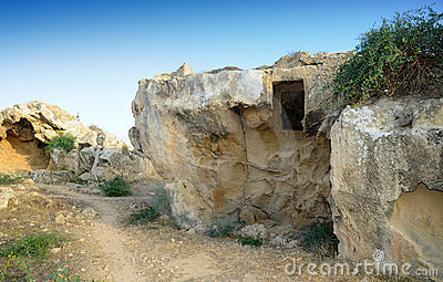 Tombs of the kings - Overview of the ruins. Editorial Stock Photo