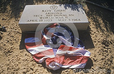 Tombstone and American Flag Editorial Image