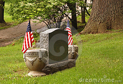 Tombstone with flags