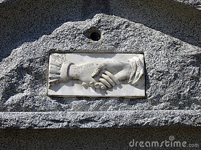 Tombstone with Shaking Hands