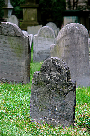 Tombstones in old grave yard one