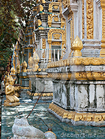 Tombstones at temple in Cambodia