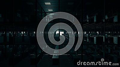 Tomma nattkontorssovalkov stock video