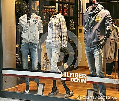 Tommy Hilfiger luxury fashion shop Editorial Stock Photo