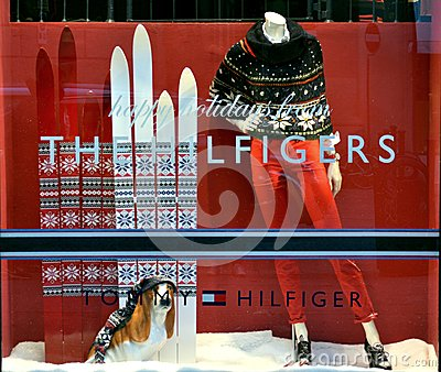 Tommy Hilfiger winter luxury fashion shop Editorial Photography