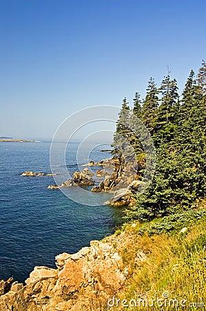 Toneel kustlijn van Maine