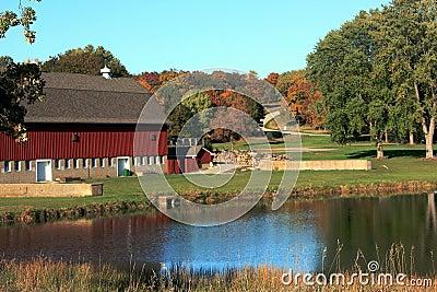 Toneel Landbouwbedrijf in de Herfst
