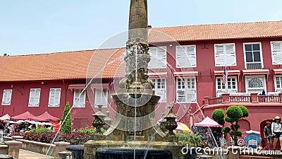 Toneelmening van de Kerk Malacca van Christus en Nederlands Vierkant stock videobeelden