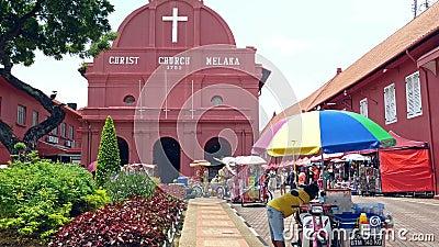 Toneelmening van de Kerk Malacca van Christus en Nederlands Vierkant stock video