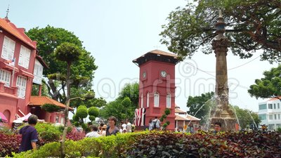 Toneelmening van de Kerk Malacca van Christus en Nederlands Vierkant stock footage