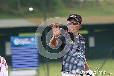Tongchai Jaidee en el golf francés abre 2013 Foto editorial