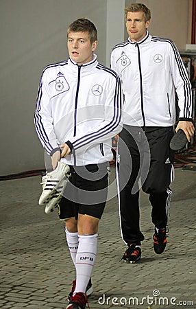 Toni Kroos and Peer Mertesacker of Germany Editorial Image