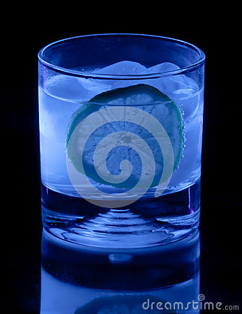Tonic Water and Lemon in Black Light