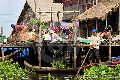 Tonle Sap Village Life Editorial Stock Image