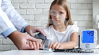 Tonometer Measuring Blood Pressure, Sick Child, Doctor Consulting Kids stock video