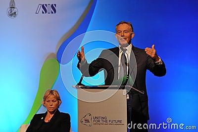Tony Blair Speaks at Thai Reconciliation Forum Editorial Image