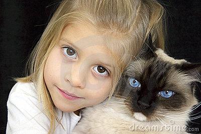 Too Cute Girl and Kitty