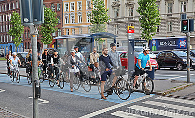 Too many bikers in Copenhagen Editorial Stock Photo