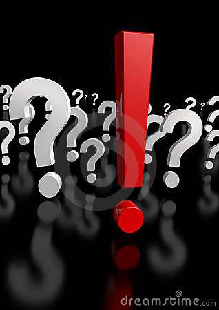 Too Many Questions, Only One Exclamation Mark! 3d Royalty Free Stock Images - Image: 7302529