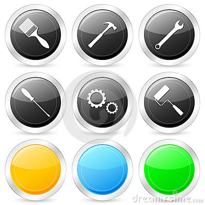 Tool circle icon set