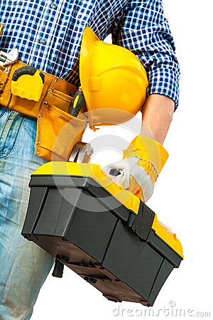 Free Toolbox In Hand Of Worker Stock Photo - 32004870