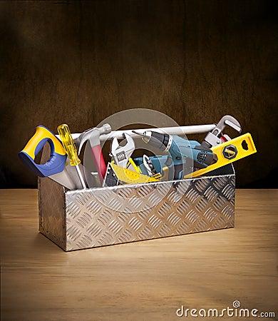 Free Toolbox Tools Toolkit Wood Box Royalty Free Stock Photo - 25149275