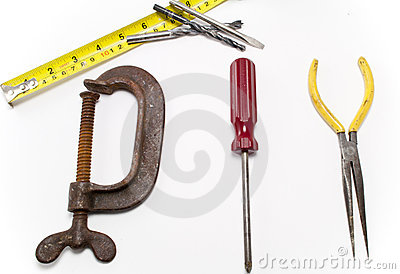 Tools used to write the word DIY