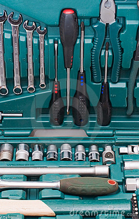 Toolkit of various tools in the box