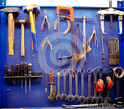 Tools in auto repairs shop