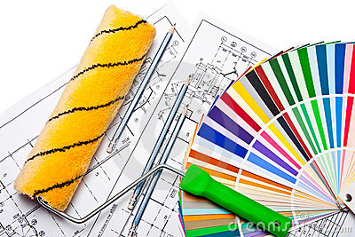 Tools and color guide on white